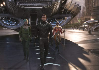 Marvel Studios' BLACK PANTHERL to R: Nakia (Lupita Nyong'o), T'Challa/Black Panther (Chadwick Boseman) and Okoye (Danai Gurira)Ph: Film Frame©Marvel Studios 2018