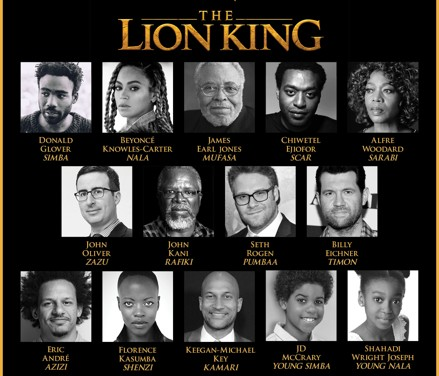 """JON FAVREAU'S ALL-NEW BIG-SCREEN ADVENTURE """"THE LION KING"""" ROARS TO LIFE WITH ALL-STAR CAST"""