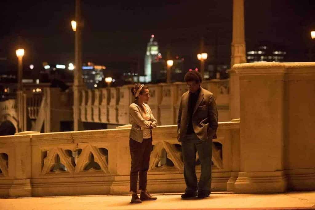 Denzel Washington and Carmen Dejogo in Columbia Pictures' ROMAN J. ISRAEL ESQ.