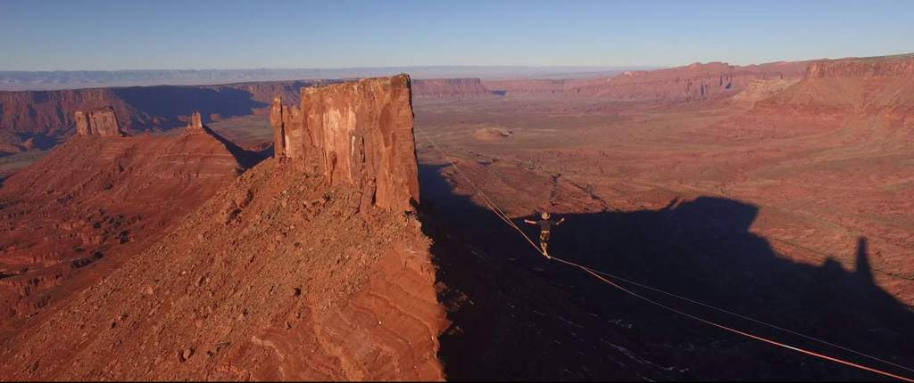 High wire walker over canyon - courtesy of Greenwich Entertainment
