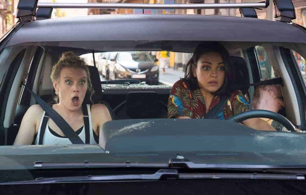 "Kate McKinnon as ""Morgan"" and Mila Kunis as ""Aubrey"" in THE SPY WHO DUMPED ME."